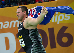 Tomas Walsh of New Zealand celebrates after winning the men's Shot Put final during the day 2 of the 2016 IAAF World Indoor Championships at Oregon Convention Center in Portland, Oregon, the United States, on March 18, 2016. Tomas Walsh claimed the title with 21.78 meters. EXPA Pictures © 2016, PhotoCredit: EXPA/ Photoshot/ Yang Lei from Chongqing<br /> <br /> *****ATTENTION - for AUT, SLO, CRO, SRB, BIH, MAZ, SUI only*****