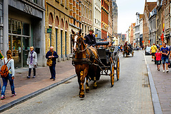 Bruges, Belgium - Tourists being driven round the city in a horse and trap<br /> <br /> (c) Andrew Wilson | Edinburgh Elite media