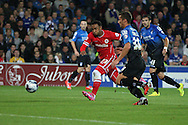 Nicky Maynard of Cardiff shoots at goal. Capital One Cup, 3rd round match, Cardiff City v AFC Bournemouth at the Cardiff City stadium in Cardiff, South Wales on Tuesday 23rd Sept 2014<br /> pic by Mark Hawkins, Andrew Orchard sports photography.