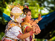 """29 AUGUST 2105 - KO KRET, NONTHABURI, THAILAND:   Thai classical dancers perform a scene from the """"Ramakien,"""" the Thai version of the Ramayana, on Ko Kret. Ko Kret is a small island in the Chao Phraya River in Nonthaburi province north of Bangkok. It is some 2 km long and 1 km wide. It has seven main villages, the largest and most populous being Ban Mon. Ko Kret was created in 1722 when a canal was dug in the Chao Phraya River to bypass a bend. Most of the people on the island are ethnically Mon, from the hills of western Thailand and eastern Myanmar (Burma). The island is popular as a weekend daytrip from Bangkok. The island is famous for the Mon style pottery made on the island.   PHOTO BY JACK KURTZ"""