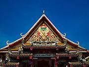 23 DECEMBER 2018 - CHANTABURI, THAILAND: Wat Khetnaboonyaram, a Vietnamese Buddhist temple in Chantaburi. Chantaburi is the capital city of Chantaburi province on the Chantaburi River. Because of its relatively well preserved tradition architecture and internationally famous gem market, Chantaburi is a popular weekend destination for Thai tourists.   PHOTO BY JACK KURTZ