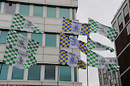 Plymouth Argyle and AFC Wimbledon flags flying on Wembley Way before the Sky Bet League 2 play off final match between AFC Wimbledon and Plymouth Argyle at Wembley Stadium, London, England on 30 May 2016. Photo by Graham Hunt.