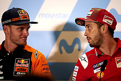 September 22, 2018 - Alcaniz, Teruel, Spain - Brad Binder (41) of Republic of South Africa and Red Bull KTM Ajo KTM and Andrea Dovizioso (4) of Italy and Ducati Team during press conference after qualifying for the Gran Premio Movistar de Aragon of world championship of MotoGP at Motorland Aragon Circuit on September 22, 2018 in Alcaniz, Spain. (Credit Image: © Jose Breton/NurPhoto/ZUMA Press)