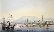 The port of Smyrna (Izmir), Turkey, on the Aegean sea, 1820. Watercolour by Maxim Vorobyov (1787-1855) Russian painter.  View of the city from the water  with the domes and minarets of the mosque in the centre.