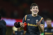 Sam Davies of Wales celebrates at the end of the match after his late drop goal won the match for Wales.  Under Armour 2016 series international rugby, Wales v Japan at the Principality Stadium in Cardiff , South Wales on Saturday 19th November 2016. pic by Andrew Orchard, Andrew Orchard sports photography