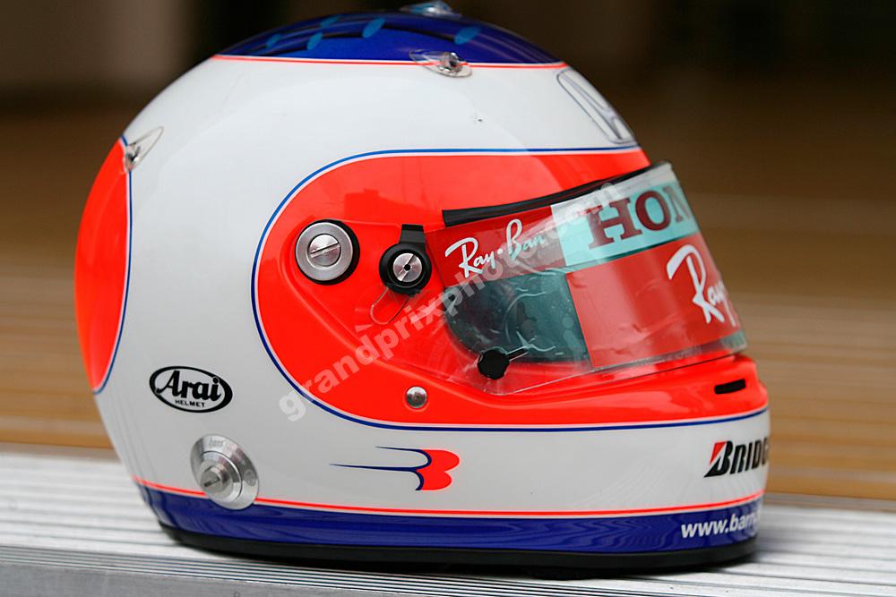 Rubens Barrichello's helmet (Honda) shot at the 2007 Hungarian Grand Prix at the Hungaroring outside Budapest. Photo: Grand Prix Photo