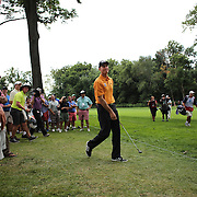 Jim Furyk after his approach shot to the 18th during the third round of theThe Barclays Golf Tournament at The Ridgewood Country Club, Paramus, New Jersey, USA. 23rd August 2014. Photo Tim Clayton