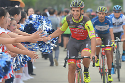 September 20, 2017 - Changde, China - Liam Bertazzo of Willier Triestina Selle Italia Team welcomed by local teens ahead of the start to the second stage of the 2017 Tour of China 2, the 97.6km Changde Lixiang Circuit Race. .On Wednesday, 20 September 2017, in Lixian County, Changde City, Hunan Province, China. (Credit Image: © Artur Widak/NurPhoto via ZUMA Press)