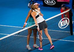 January 26, 2019 - Melbourne, AUSTRALIA - Petra Kvitova of the Czech Republic & Naomi Osaka of Japan hug at the net after the final of the 2019 Australian Open Grand Slam tennis tournament (Credit Image: © AFP7 via ZUMA Wire)