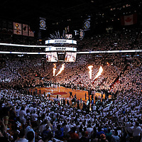 17 June 2012: General view of the arena during the players introduction prior to the Miami Heat 91-85 victory over the Oklahoma City Thunder, in Game 3 of the 2012 NBA Finals, at the AmericanAirlinesArena, Miami, Florida, USA.