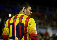 VALENCIA, SPAIN - JANUARY 22:  Lionel Messi of Barcelona looks on during the Copa del Rey Quarter Final First Leg match between Levante UD and FC Barcelona at Ciutat de Valencia on January 22, 2014 in Valencia, Spain.  (Photo by Manuel Queimadelos Alonso/Getty Images)