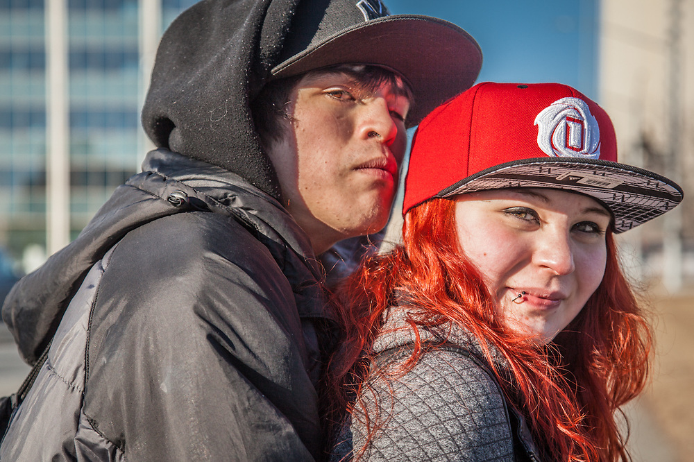 """""""Someday I want to be a cosmetologist…or a fireman…not sure yet.""""  Samm Parra with her boyfriend Zach Adam, Anchorage"""