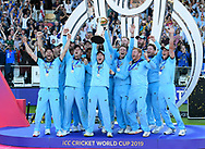 Eoin Morgan of England lifts the Cricket World Cup trophy during the ICC Cricket World Cup 2019 Final match between New Zealand and England at Lord's Cricket Ground, St John's Wood, United Kingdom on 14 July 2019.