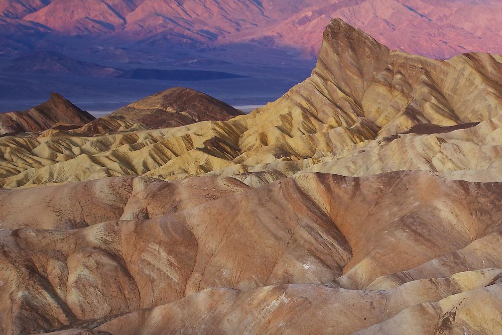 sunrise at death valley national park, zabriskie point closeup