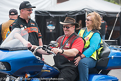 Trying out a new 2017 FLH bagger at the Harley-Davidson display at the Daytona Speedway during Daytona Bike Week. Daytona Beach, FL. USA. Monday March 13, 2017. Photography ©2017 Michael Lichter.