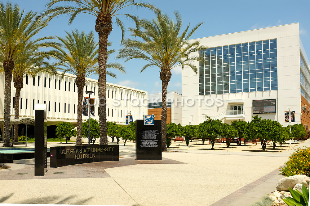 Langsdorf Hall and Mihaylo Hall on Campus at California State University Fullerton