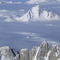ANTARCTICA. Gothic Mountains (foreground), part of the Queen Maud Mountains in the vast Trans-Antarctic Mountains. Front to back: Organ Pipes Peaks, Sanctuary Glacier, Mount Andrews, Albanus Glacier, Mount Gould, Leverett Glacier.