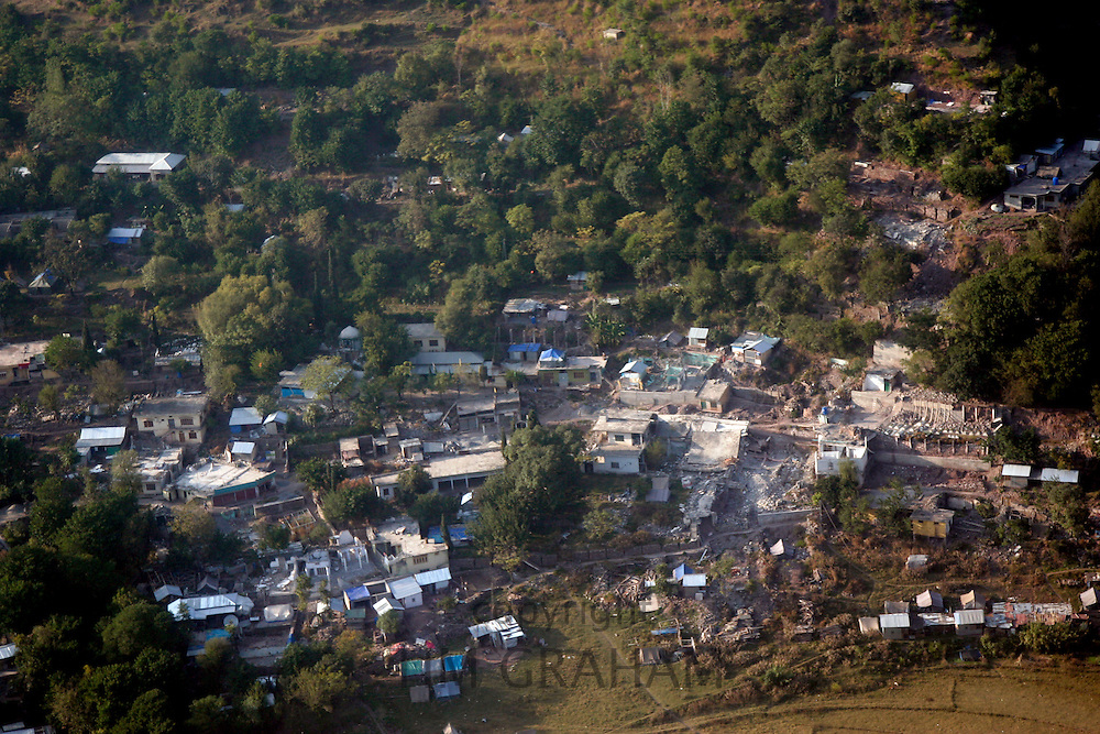Demolished buildings seen from helicopter  in earthquake area of Azad Jammu Kashmir, Pakistan