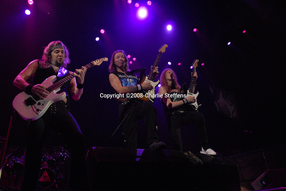Adrian Smith, Dave Murray, and Janick Gers<br /> February 19, 2008<br /> Iron Maiden<br /> The Forum<br /> Inglewood, California