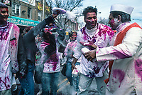 Queens, New York | 2005<br /> Revelers celebrate Phagwah, the spring festival of colors, on the streets of Richmond Hill, New York's largest Indo-Caribbean neighborhood. Commonly known as Holi in Hindi, Phagwah comes from Bhojpuri dialect of the north Indian regions to which many Indians from Guyana, Trinidad, and Suriname trace their heritage.