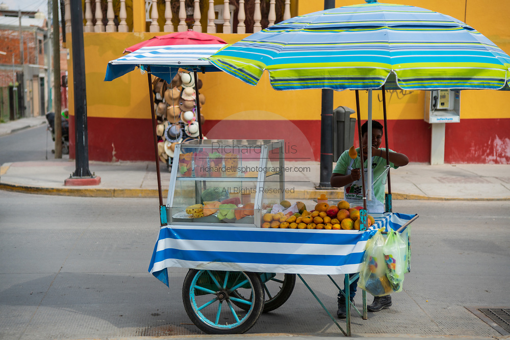 A fruit vendor sells his wares from a colorful cart in Dolores Hidalgo, Guanajuato, Mexico. The town is where Independence leader Miguel Hidalgo issued the now world famous Grito - a call to arms for Mexican independence from Spain.