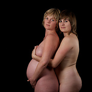A portrait of Jen and Jane with Jen over eight months pregnant in Sydney, Australia on 23rd December 2009. Photo by Tim Clayton.