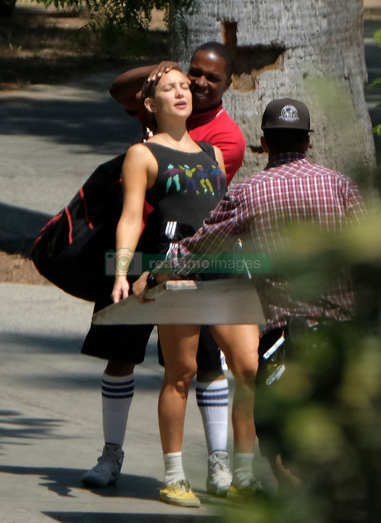 Kate Hudson films scenes for 'Sister' in MacArthur Park in Los Angeles,CA. Kate wore workout gear as she strolled through the park. 21 Aug 2017 Pictured: Kate Hudson. Photo credit: MEGA TheMegaAgency.com +1 888 505 6342