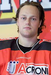 Ziga Svete, member of HK Acroni Jesenice ice-hockey team for season 2008/2009 at official photo shooting in Arena Podmezaklja, Jesenice, on September 24, 2008. (Photo by Vid Ponikvar / Sportal Images)