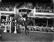 """04/08/1960<br /> 08/04/1960<br /> 04 August 1960<br /> R.D.S Horse Show Dublin (Thursday). Miss Pat Smythe of Great Britain on """"Scorchin""""in the International Jumping Competition."""