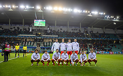 TALLINN, ESTONIA - Monday, October 11, 2021: Wales players line-up for a team group photograph before the FIFA World Cup Qatar 2022 Qualifying Group E match between Estonia and Wales at at the A. Le Coq Arena. Back row L-R: goalkeeper Daniel Ward, Joe Rodon, Chris Mepham, Kieffer Moore. Front row L-R: Sorba Thomas, Daniel James, captain Aaron Ramsey, Harry Wilson, Connor Roberts, Joe Allen, Ethan Ampadu. (Pic by David Rawcliffe/Propaganda)