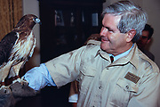 U.S Speaker of the House, Newt Gingrich of Georgia holds a red-tailed hawk during an event with Jack Hanna, director of the Columbus Ohio Zoo on Capitol Hill June 27, 2015 in Washington, DC.