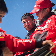 Leg 3, Cape Town to Melbourne, day 01, Willy Attadil, Louis Sinclair and Tamara Echegoyen on board MAPFRE. Photo by Jen Edney/Volvo Ocean Race. 10 December, 2017.