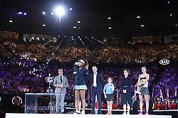 MELBOURNE, Jan. 26, 2019  Naomi Osaka (front) of Japan reacts during the trophy awarding ceremony after the women's singles final match between Naomi Osaka of Japan and Petra Kvitova of the Czech Republic at 2019 Australian Open in Melbourne, Australia, Jan. 26, 2019. (Credit Image: © Lui Siu Wai/Xinhua via ZUMA Wire)