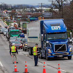 Lancaster, PA, USA- April 14, 2015: Fire police officers direct heavy traffic during a fire emergency.