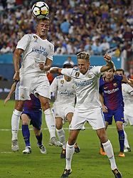 Real Madrid midfielder Lucas Vazquez jumps for the ball during the second half against Barcelona in International Champions Cup play on Saturday, July 29, 2017, at Hard Rock Stadium in Miami Gardens, FL, USA. Barcelona won, 3-2. Photo by David Santiago/El Nuevo Herald/TNS/ABACAPRESS.COM