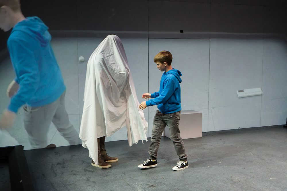 Brooklyn, NY – 29 October 2019. The dress rehearsal of Hamnet, Written and directed by Ben Kidd and Bush Moukarzel, at BAM Fisher (Fishman Space). <br /> Presented in association with Irish Arts Center<br /> Dead Centre<br /> Text by Bush Moukarzel, Ben Kidd, and William Shakespeare<br /> Dramaturgy by Michael West<br /> Set design by Andrew Clancy<br /> Costume design by Grace O'Hara<br /> Lighting design by Stephen Dodd<br /> Sound design by Kevin Gleeson<br /> Video design by Jose Miguel Jimenez<br /> Choreography by Liv O'Donoghue<br /> Hamnet played by Aran Murphy