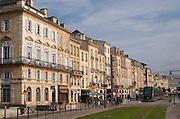 The modern tram. On Les Quais. Bordeaux city, Aquitaine, Gironde, France