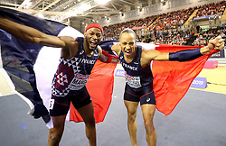 France's Aurel Manga (left) and Pascal Martinot-Lagard celebrate after the Men's 60m Hurdles Final during day three of the European Indoor Athletics Championships at the Emirates Arena, Glasgow.