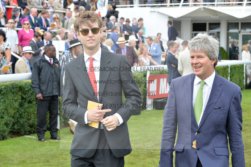 Left to right, Milo Sangster and Guy Sangster at the Qatar Goodwood Festival, Goodwood, West Sussex England. 3 August 2017.<br /> Photo by Dominic O'Neill/SilverHub 0203 174 1069 sales@silverhubmedia.com