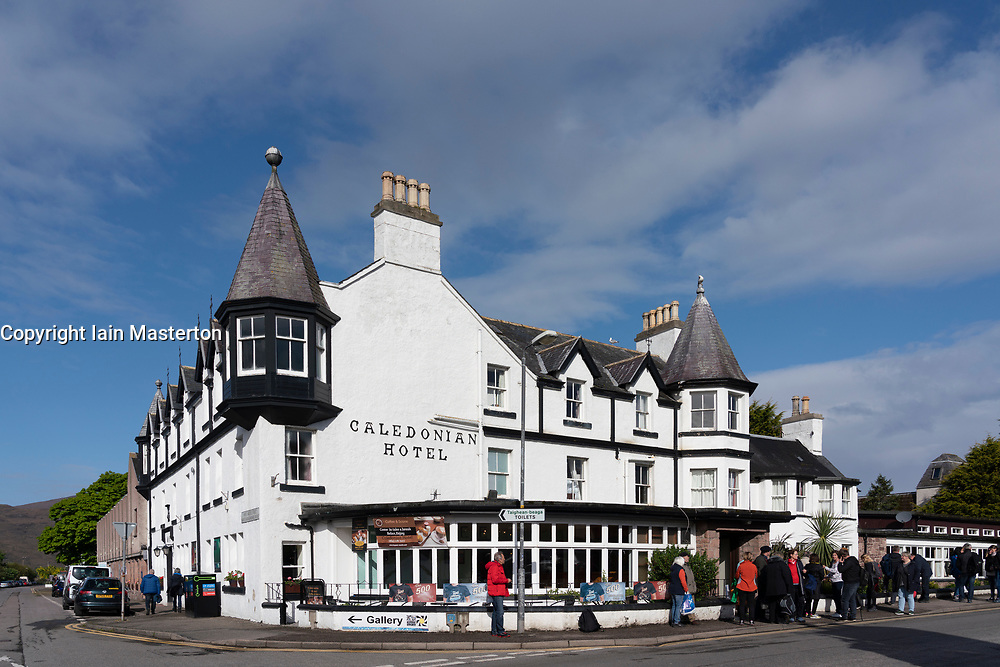 Caledonian Hotel in Ullapool on the North Coast 500 tourist motoring route in northern Scotland, UK