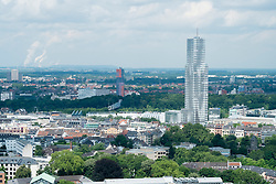 Skyline of Cologne looking towards Cologne Tower in Media Park Germany