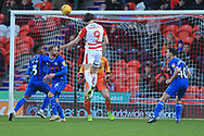 GOAL John Marquis scores from a header 3-0 during the EFL Sky Bet League 1 match between Doncaster Rovers and Rochdale at the Keepmoat Stadium, Doncaster, England on 1 January 2019.