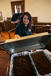 Jeremy and Angela of Lodi, Calif. show off their Spam lettuce dish at the 22nd annual Spam Festival, Sunday, Feb. 16, 2019, in Isleton, Calif. Spam lovers competed for prizes by presenting their favorite Spam-infused foods, or entering the Spam-eating and Spam-toss contests. (Photo by D. Ross Cameron)