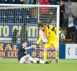Falkirk's Conor McGrandles and Falkirk's keeper Michael McGovern at the end.<br /> Falkirk 1 v 1 Morton, Scottish Championship game today at The Falkirk Stadium.<br /> © Michael Schofield.