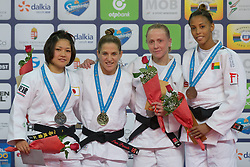 Gold medalist Paula Pareto (2nd L) of Argentina, silver medalist Funa Tonaki of Japan (1st L) with bronze medalists Nataliya Kondratyeva (2nd R) of Russia and Taciana Lima (R) of Guinea-Bissau attend the award ceremony for women's -48 kg category at Grand Prix Budapest 2015 in Budapest, Hungary on June 13, 2015. EXPA Pictures © 2015, PhotoCredit: EXPA/ Photoshot/ Attila Volgyi<br /> <br /> *****ATTENTION - for AUT, SLO, CRO, SRB, BIH, MAZ only*****