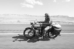 Frank Westfall riding his 1928 Henderson Deluxe during stage 11 (289 miles) of the Motorcycle Cannonball Cross-Country Endurance Run, which on this day ran from Grand Junction, CO to Springville, UT., USA. Tuesday, September 16, 2014.  Photography ©2014 Michael Lichter.