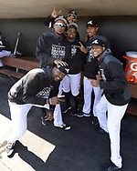 GLENDALE, ARIZONA - FEBRUARY 23:  Eloy Jimemez, Reynaldo Lopez, Yolmer Sanchez, Ivan Nova, Juan Minaya and Ervin Santana of the Chicago White Sox get together for a photo prior to the game against the Los Angeles Dodgers on February 23, 2019 at Camelback Ranch in Glendale Arizona.  (Photo by Ron Vesely)  Subject:  Eloy Jimemez; Reynaldo Lopez; Yolmer Sanchez; Ivan Nova; Juan Minaya; Ervin Santana