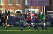 Gloucester, Gloucestershire, UK., 04.01.2003,Ludovic Mercier, kicking in midfield, during, Zurich Premiership Rugby match, Gloucester vs London Wasps,  Kingsholm Stadium,  [Mandatory Credit: Peter Spurrier/Intersport Images],