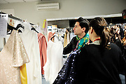 Spanish fashion designer Jorge Acuña at Madrid's Fashion Show backstage.