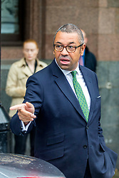 © Licensed to London News Pictures. 29/09/2019. Manchester, UK. James Cleverly leaves the Midland hotel on the first day of the Conservative Party Conference at Manchester Central in Manchester. Photo credit: Andrew McCaren/LNP